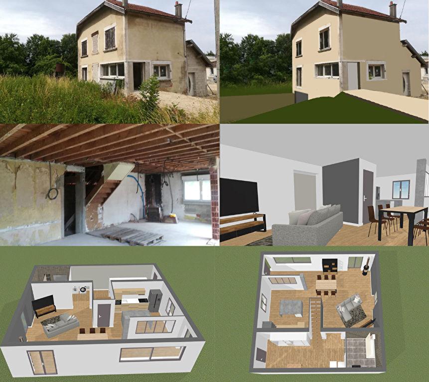 Maison 5 pièces a finir , avec garage et terrain, située à Mussy-sur-Seine 10250  ( Aube, département de la Champagne), sur l'axe Châtillon/Troyes.