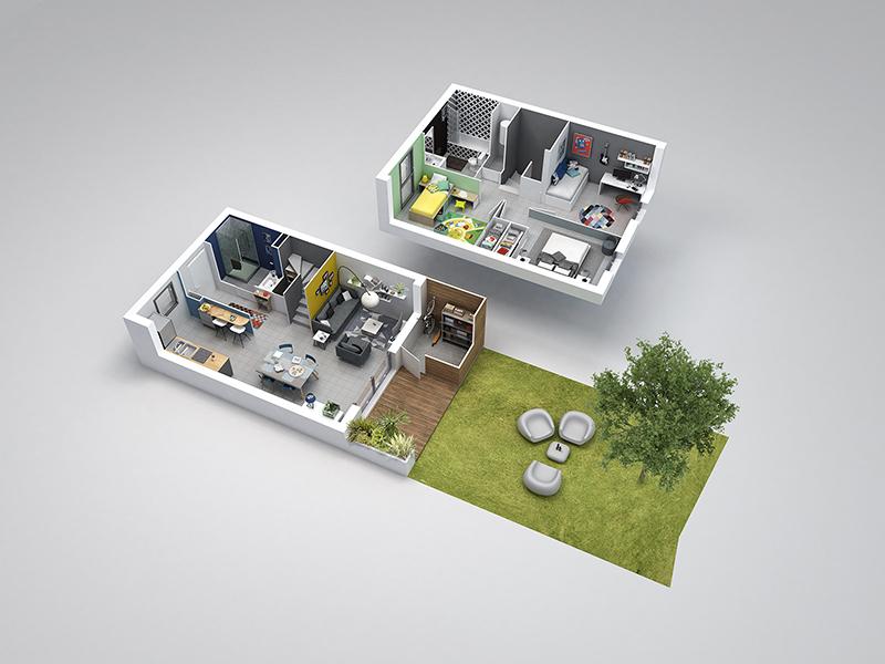 Villa sur un étage avec jardin, cuisine équipée
