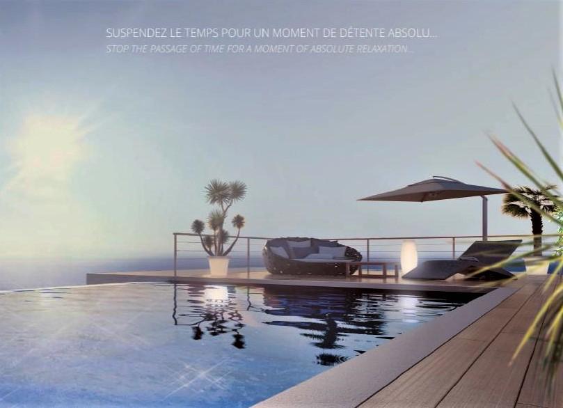 Luxueux duplex neuf avec rooftop ; vue imprenable sur Monaco et sa baie, piscine extérieure chauffée à débordement avec vue mer.