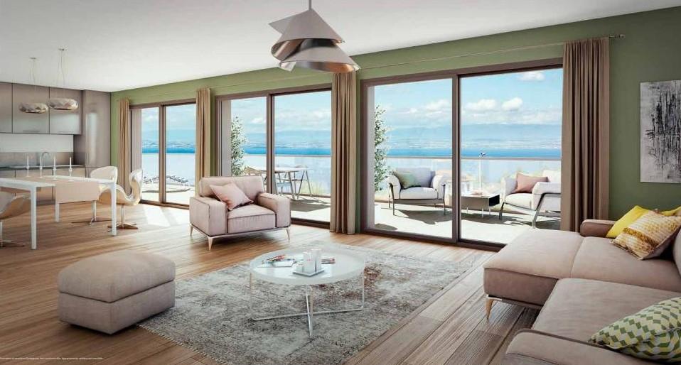 Evian : T5 neuf avec grande terrasse dominant le Lac Léman, la vie au grand air