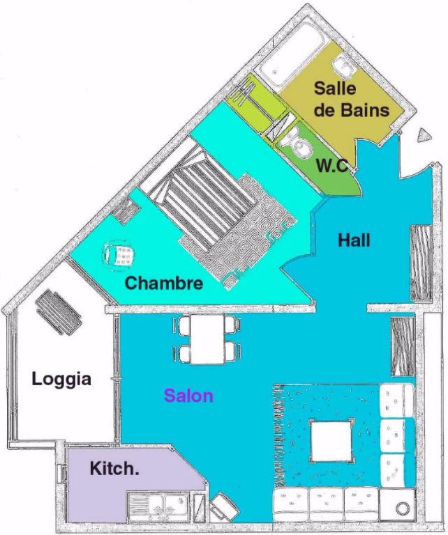 A  louer à l'année Le Cap D Agde 2 pièce(s) 45 m2