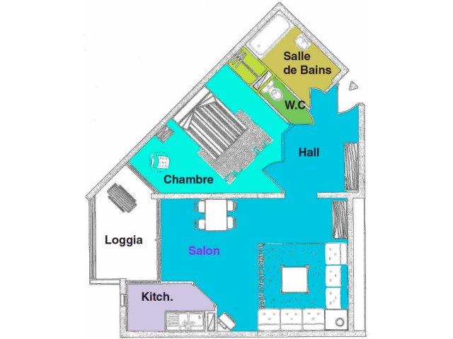 Appartement Agde 2 pièce(s) 45 m2