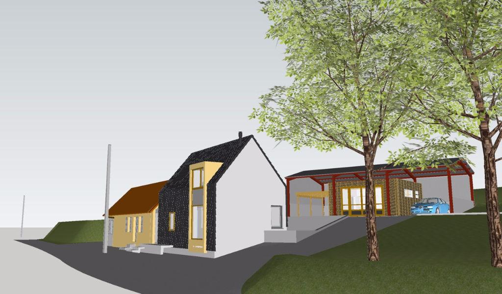 Bourbon l'Archambault- Petite maison avec atelier et permis de construire près de la ville.