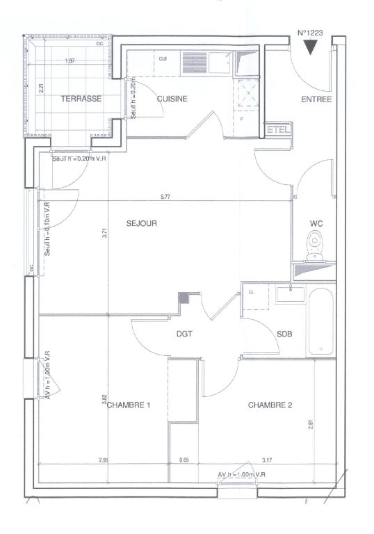 Appartement Magnanville 3 pièce(s) 60.31 m2
