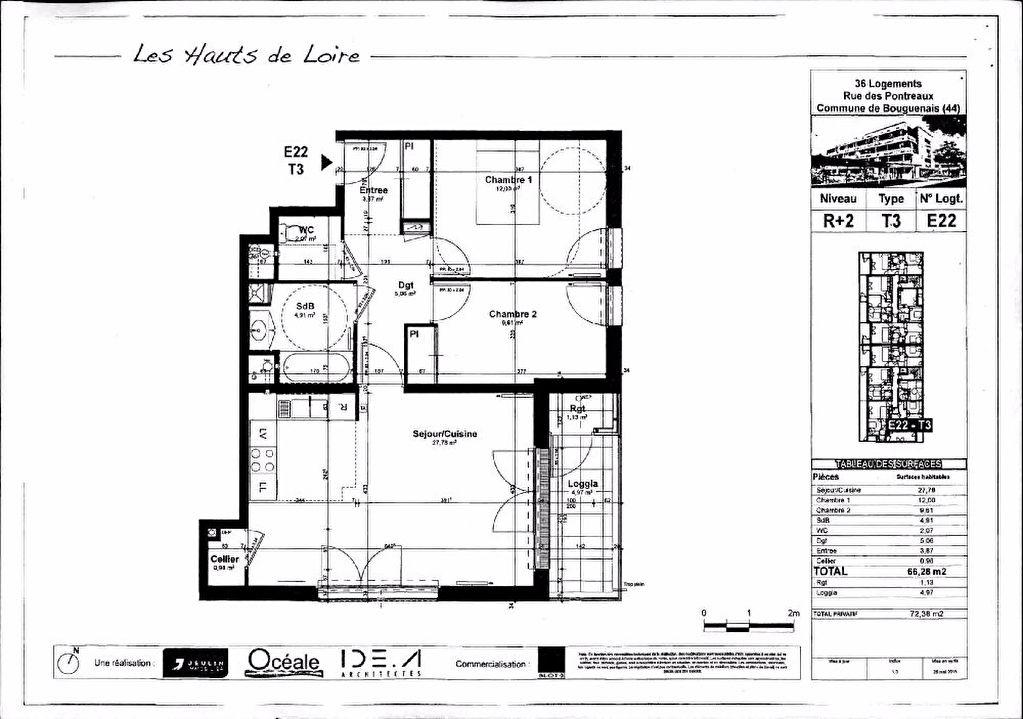Appartement Bouguenais 3 pièce(s) 66.28 m2