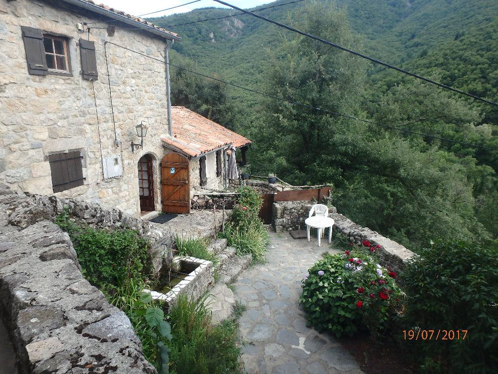 Mas surplombant un hameau - 2 maisons ardéchoises - Plusieurs entrées & terrasses - Source abondante