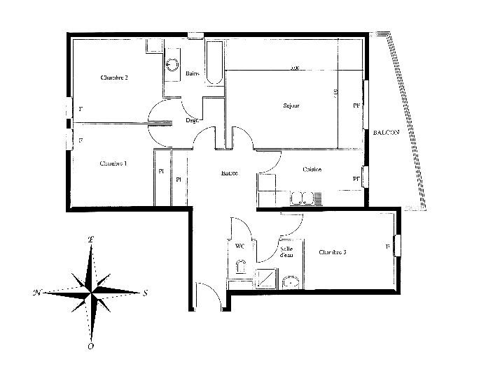 Appartement Saint Denis 4 pièce(s) 83.35 m2