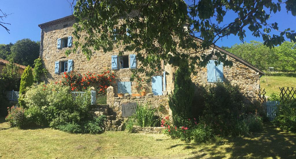 Magnifique maison en pierre rénovée de 175 m2 avec combles, sous sol, et terrain de 1950 m2 à 14 minutes d'Annonay