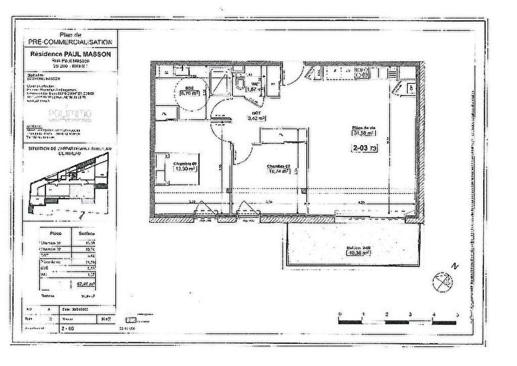 Appartement Brest - 3 pièce(s) - 67 m2