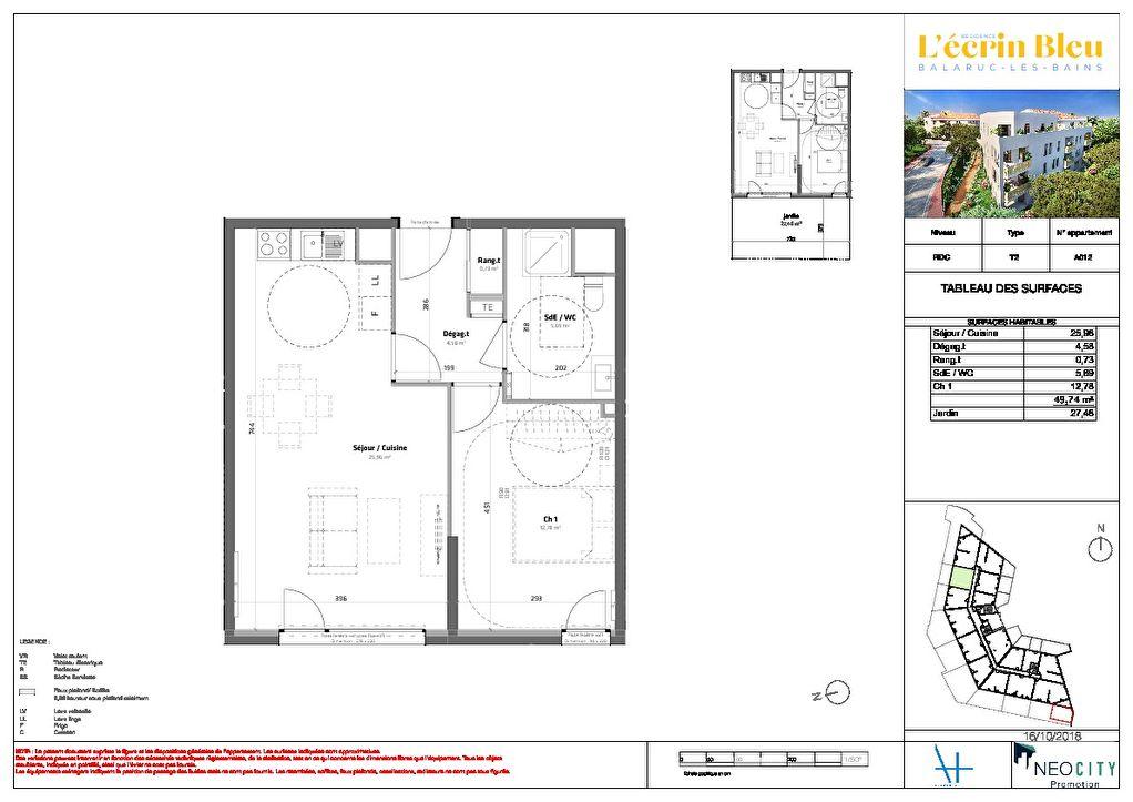 Appartement Balaruc Les Bains 2 pièce(s) 50 m2
