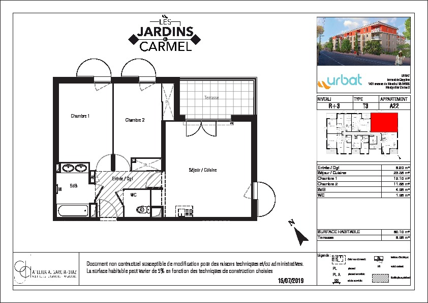 Appartement  3 pièce(s) 58.75 m2