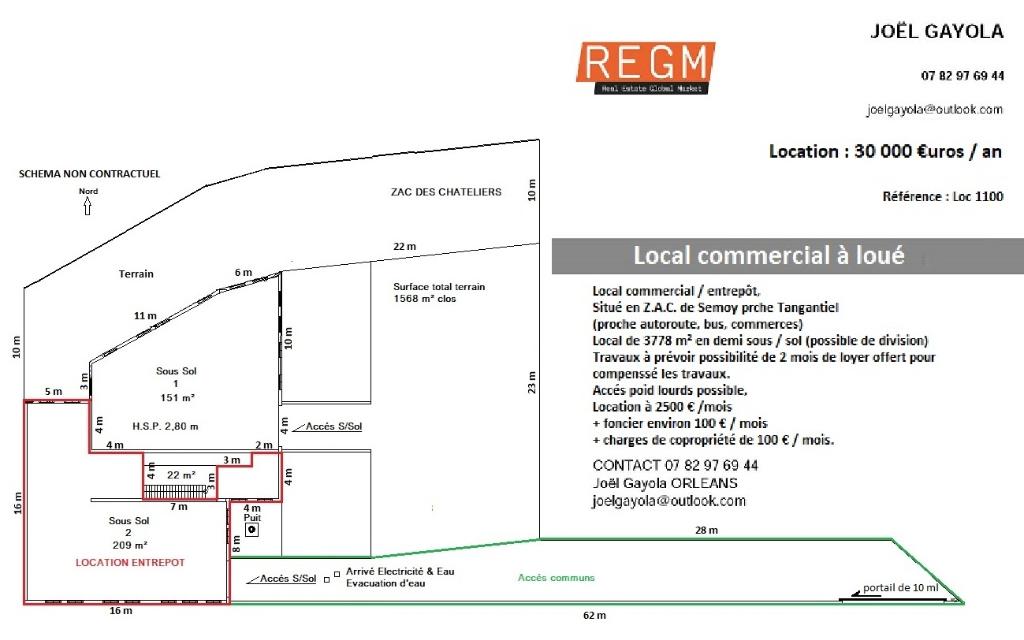 Location un local commercial, ORLEANS Nord (45) ZAC des CHATELIERS