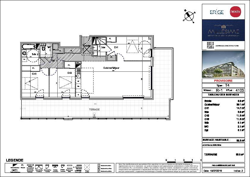 Appartement  4 pièce(s) 99 m2 + grande terrasse et vue imprenable!