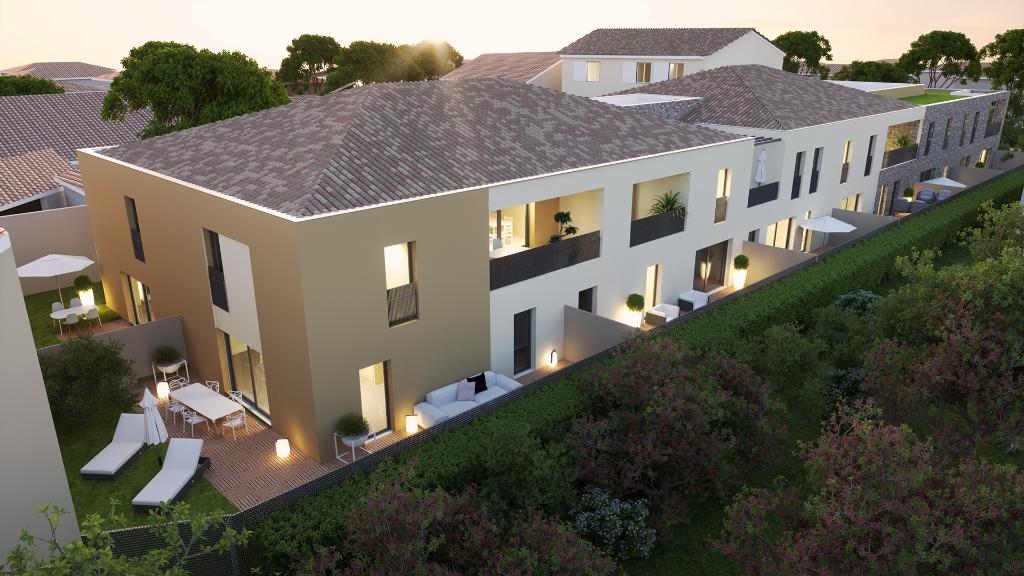 Appartement  3 pièces (61.14 m2) avec jardin dans petite copro à 10 minutes de Montpellier.