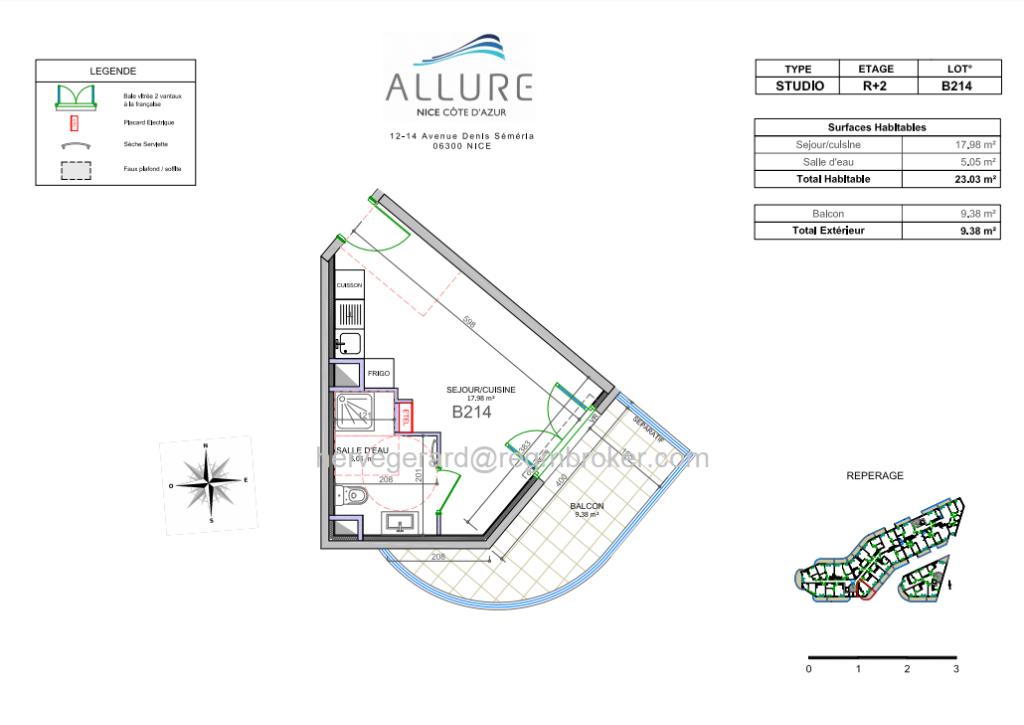 T1  d' exception 23m² +terrasse 9m² neuf  4T2021