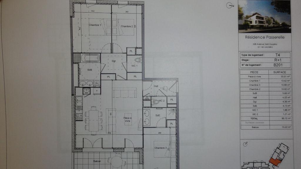 Appartement Lagnieu 4 pièces 90,12 m2 Terrasse Garage