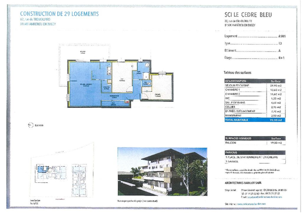 AMBERIEU EN BUGEY CENTRE - Appt T3 de 72 m2 avec terrasse, garage et parking.