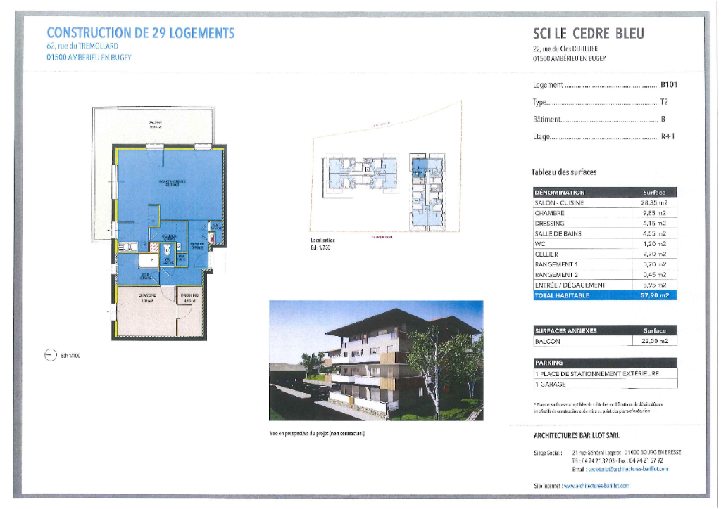 AMBERIEU EN BUGEY CENTRE - Appt T3 de 73 m2 avec terrasse, garage et parking.