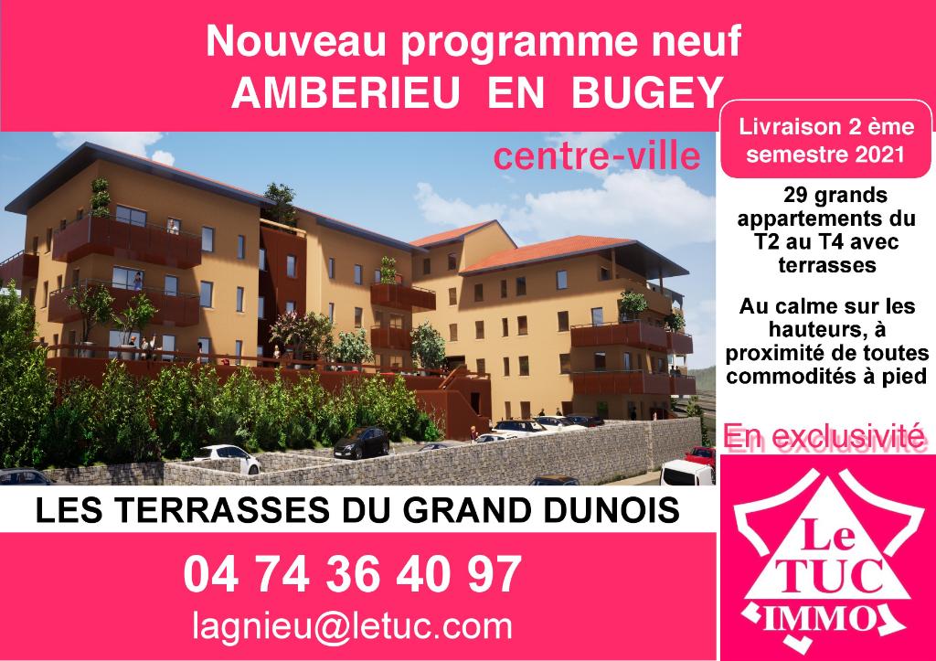 AMBERIEU EN BUGEY CENTRE - Appt T2 de 59 m2 avec terrasse, garage et parking.