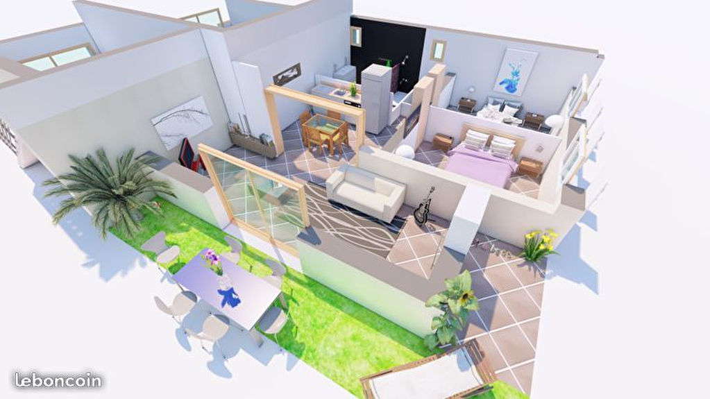 Appartement T3 avec jardin de 75 m²