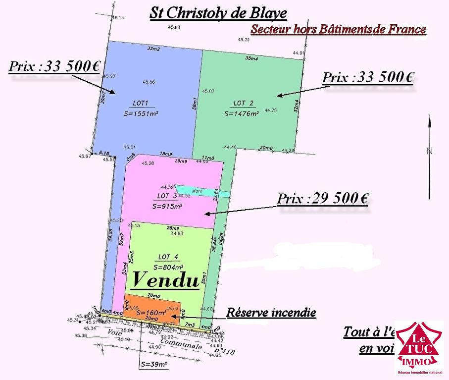ST CHRISTOLY DE BLAYE TERRAIN D'ENVIRON 915 M² Lot 3