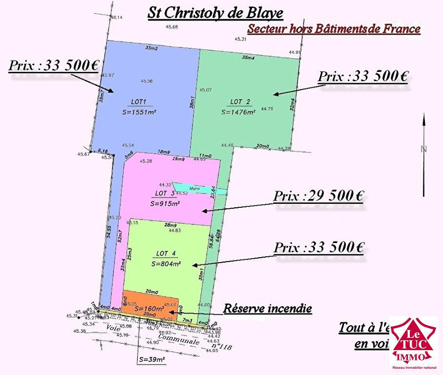 ST CHRISTOLY DE BLAYE TERRAIN D'ENVIRON 804 M²  Lot 4