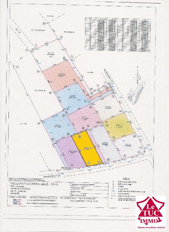 REIGNAC Terrain à bâtir de 866 m²