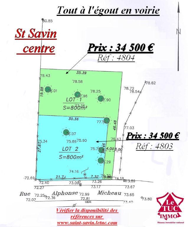 ST SAVIN TERRAIN A BATIR  800 M² lot 2 plein centre en 1ére ligne.