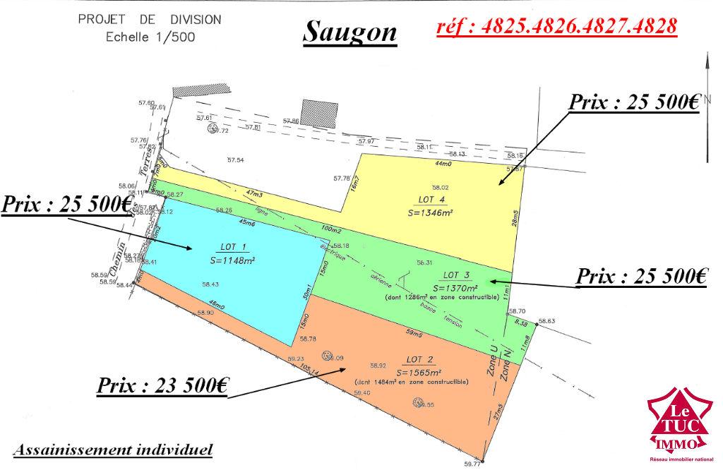 SAUGON Terrain d'environ 1 148m²