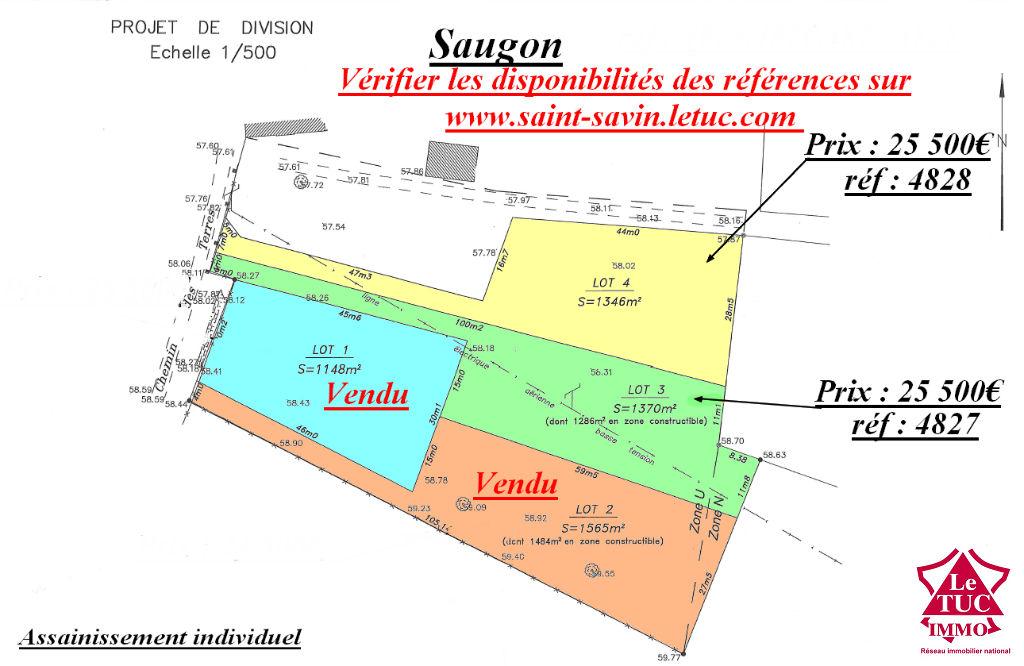 SAUGON à 4 minutes de St Savin, terrain d'environ 1 346 m²