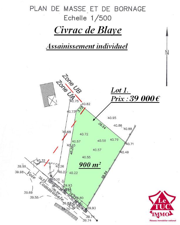CIVRAC DE BLAYE TERRAIN D'ENVIRON 900 M²
