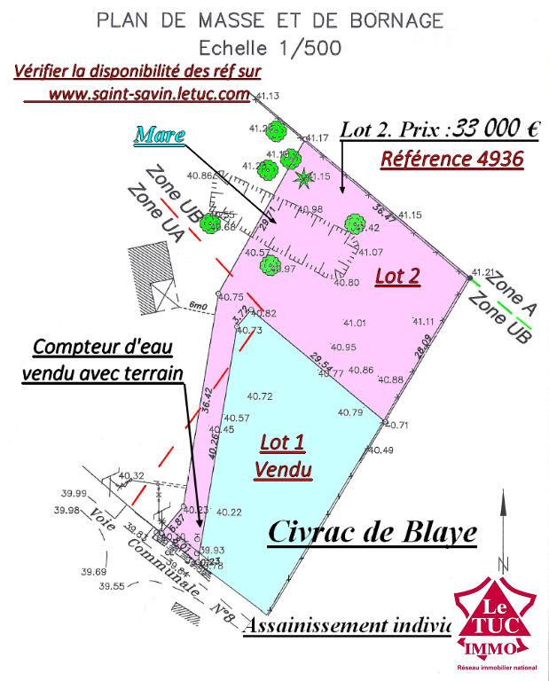 CIVRAC DE BLAYE TERRAIN 1 195 M² avec COMPTEUR D'EAU