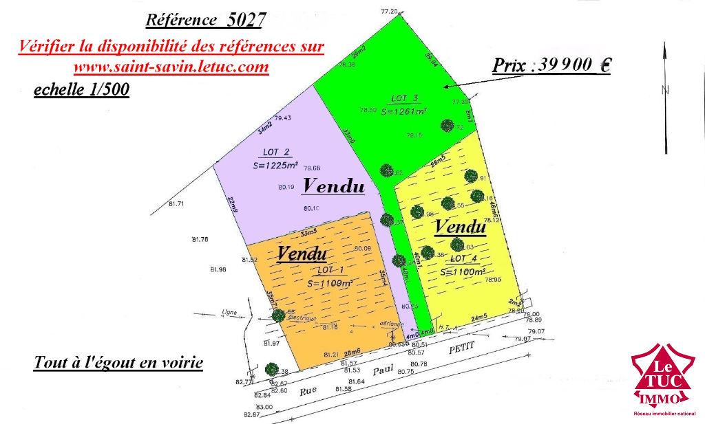 SAINT SAVIN ; Très proche du bourg, terrain à bâtir de 1 261 m²