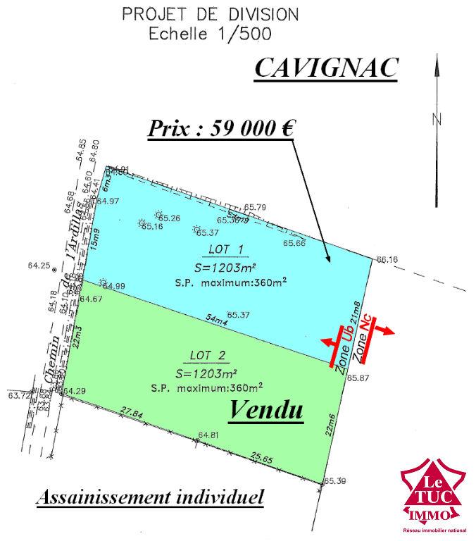 CAVIGNAC TERRAIN 1203 m²  EN 1ére LIGNE