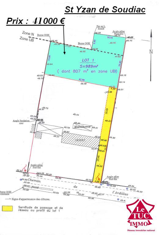ST YZAN DE SOUDIAC TERRAIN A BATIR 989 M²