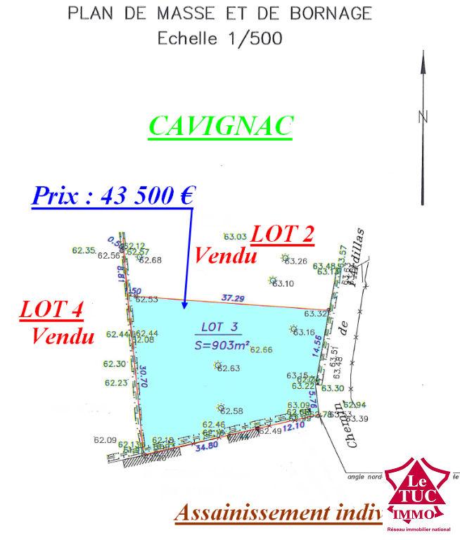 CAVIGNAC TERRAIN CONSTRUCTIBLE DE 903 M²