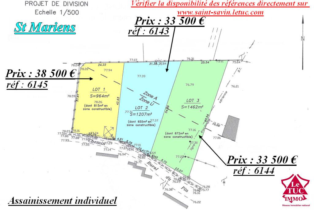 ST MARIENS TERRAIN A BATIR 964 m²  lot 1
