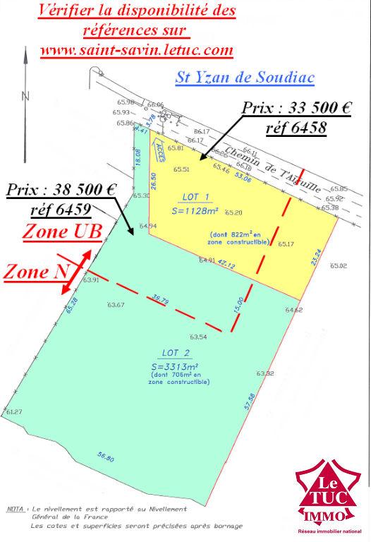 ST YZAN DE SOUDIAC TERRAIN A BATIR 1 128 m² LOT 1