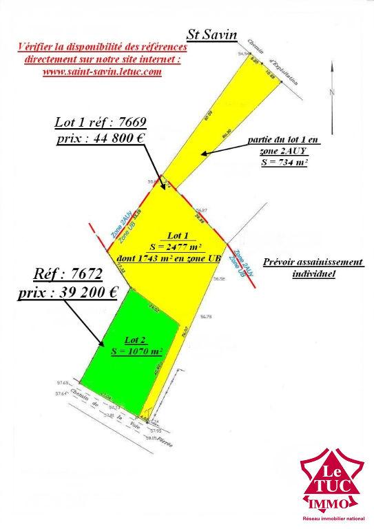 ST SAVIN TERRAIN A BATIR DE 1 070 M²