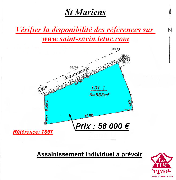 SAINT MARIENS TERRAIN A BATIR DE 888 m²