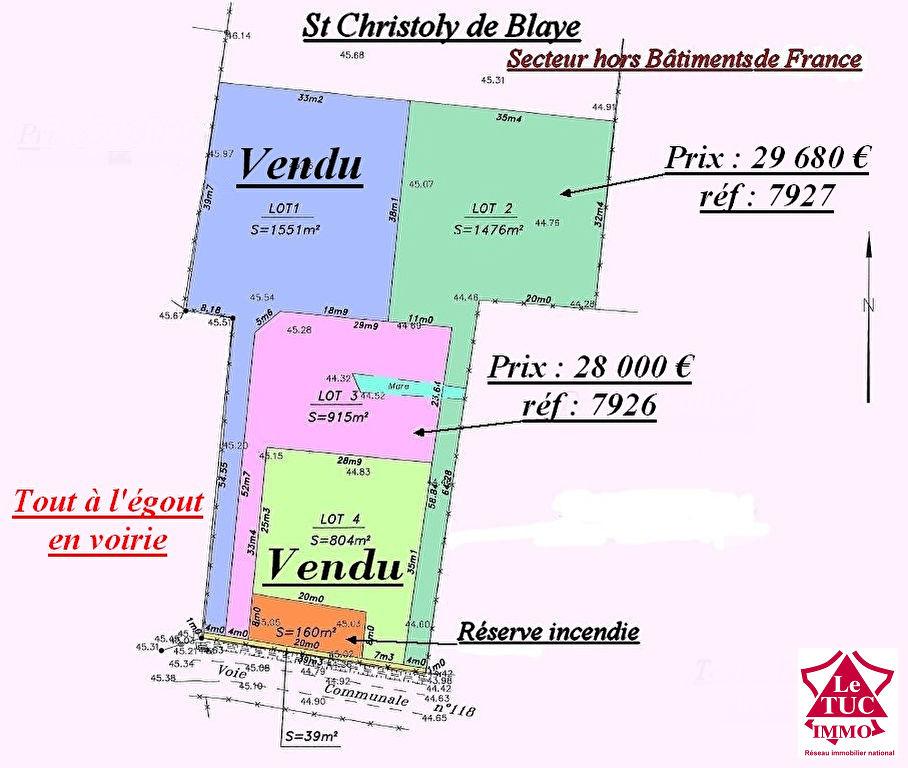 ST CHRISTOLY DE BLAYE TERRAIN 1 551 M²