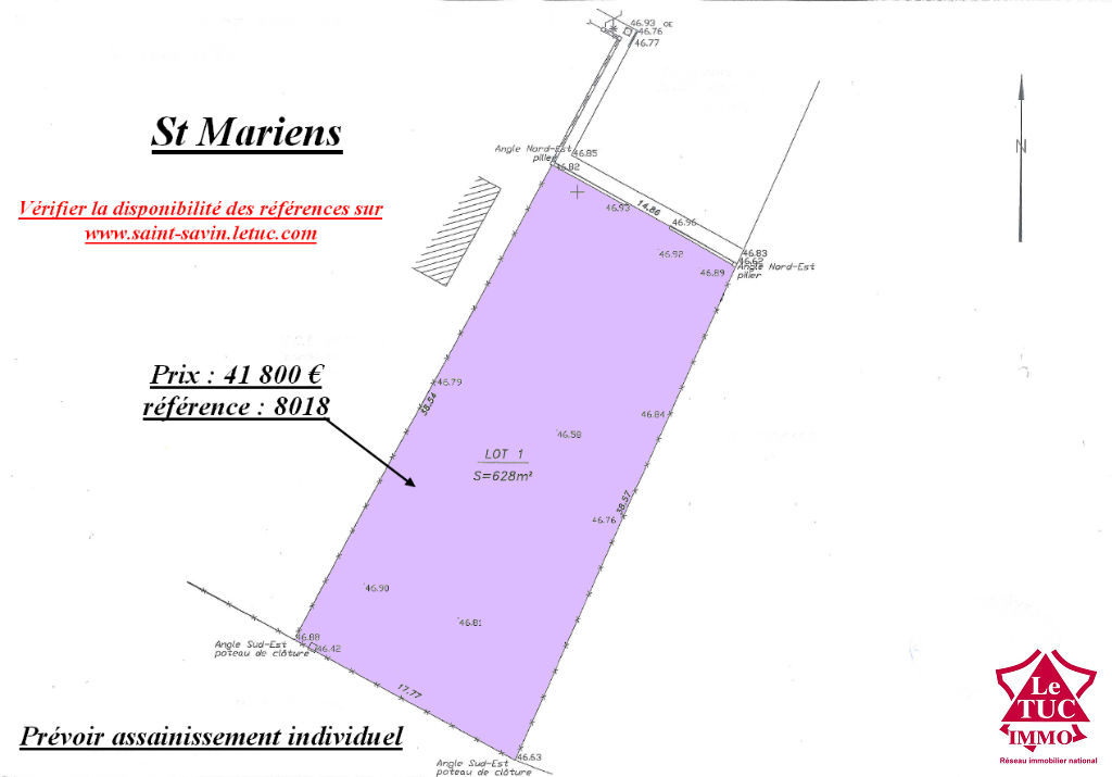 SAINT MARIENS TERRAIN A BATIR DE 628 m²