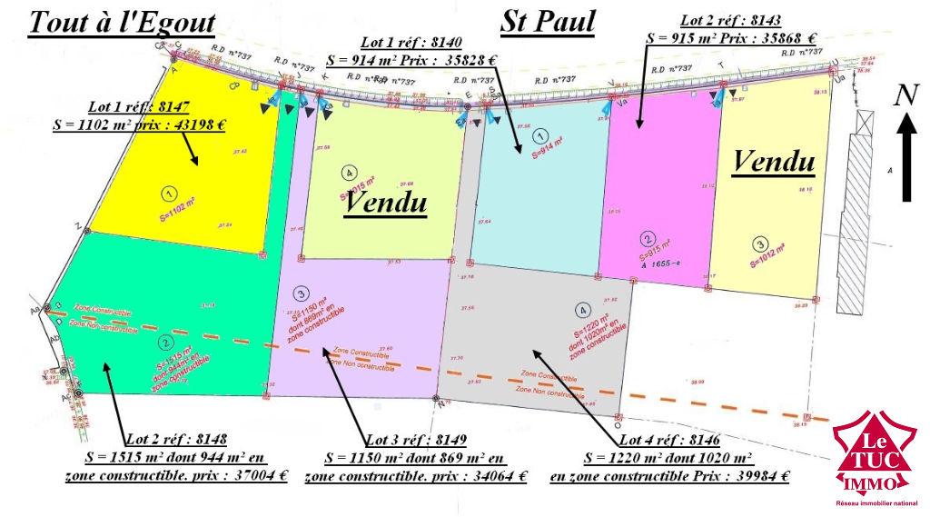 SAINT-PAUL TERRAIN CONSTRUCTIBLE D'ENVIRON 915 M²